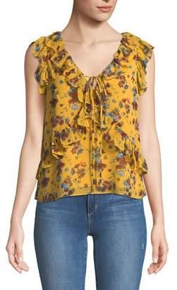 Rebecca Minkoff Daisy Floral-Print Ruffle Top