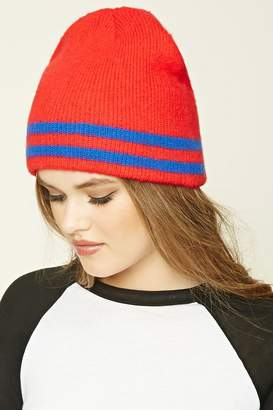 Forever 21 Striped Ribbed Knit Beanie