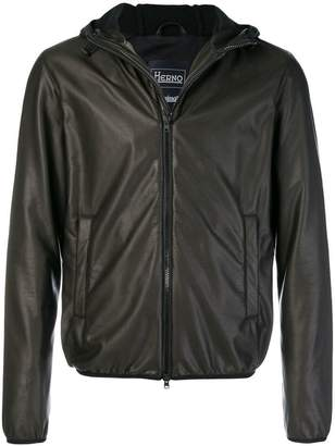 Herno hooded faux leather jacket