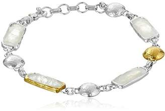 "Gurhan Lentil"" Sterling Rainbow Moonstone Bracelet"