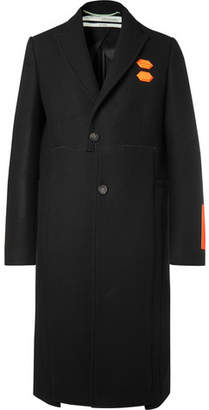 Off-White Logo-appliquéd Virgin Wool-blend Coat - Black