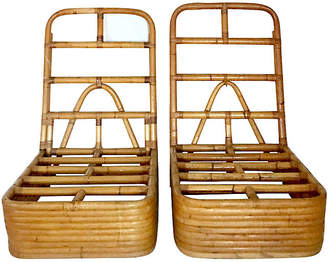 One Kings Lane Vintage Paul Frankl Rattan Slipper Chairs - Set of 2