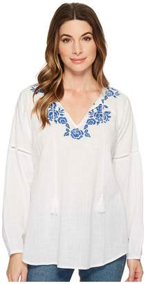 Jag Jeans Elliot Shirt w/ Embroidery in White Women's Long Sleeve Pullover