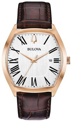 Bulova Men's Tonneau Embossed Leather Watch, 44.5mm