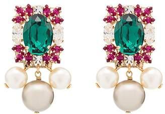 Anton Heunis crystal cluster pearl-drop earrings