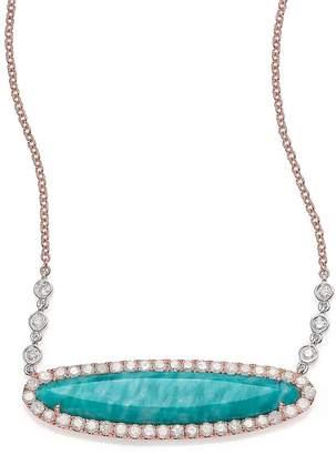 Meira T Women's Blue Amazonite, Diamond & 14K Rose Gold Pendant Necklace