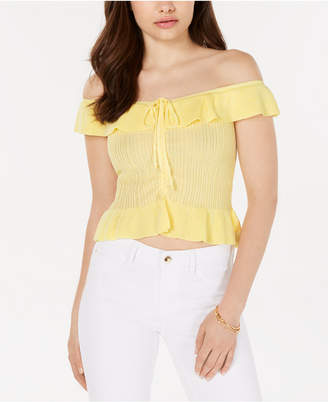 GUESS Liesa Off-The-Shoulder Flounce Top