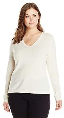 Lark & Ro Women's Plus-Size 100% Cashmere Slim-Fit V-Neck Sweater