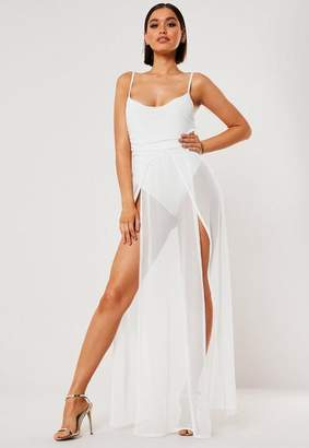 Missguided White Strappy Sheer Mesh Maxi Dress