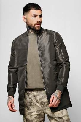 boohoo Nylon Longline Bomber Neck Jacket