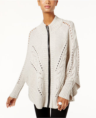 INC International Concepts Zip-Up Mixed-Knit Poncho Sweater, Only at Macy's $99.50 thestylecure.com
