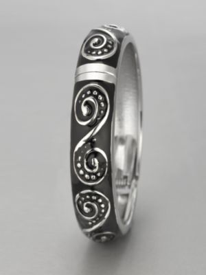 City Style Swirl Enamel Hinge Bangle Bracelet