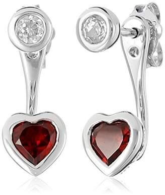 Sterling White-Topaz Front and Heart Garnet Back Earrings
