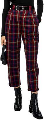 Topshop Check Peg Leg Trousers
