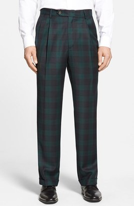 Men's Berle Pleated Plaid Wool Trousers $175 thestylecure.com