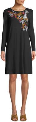 Neiman Marcus Embroidered Mini Sheath Dress
