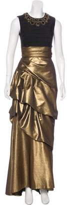 Carmen Marc Valvo Sleeveless Ruched Gown
