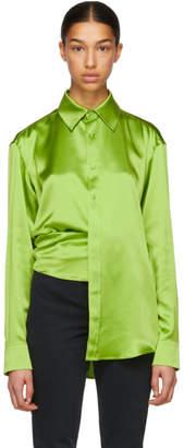 Martine Rose Green Asymmetric Silk Shirt