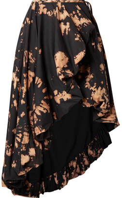 Marques Almeida Marques' Almeida - Asymmetric Tie-dyed Cotton Wrap Midi Skirt - Black