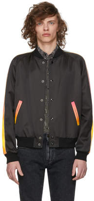 Saint Laurent Black Rainbow Stripe Bomber Jacket