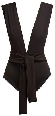 Haight - Plunge Neck Tie Waist Swimsuit - Womens - Black