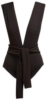 Haight Plunge Neck Tie Waist Swimsuit - Womens - Black