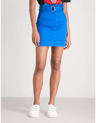 Sandro Belted high-rise cotton-twill mini skirt