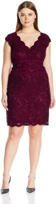 Tadashi Shoji Women's Plus Size V-Neck Embroidered Lace Dress