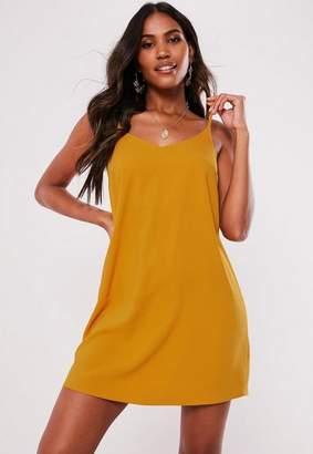 Missguided Petite Mustard Yellow Slip Dress