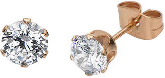 JCPenney FINE JEWELRY Cubic Zirconia 6mm Stainless Steel and Rose-Tone IP Stud Earrings