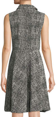 Donna Karan Sleeveless Double-Breasted Tweed Shirtdress