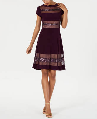 30b4c375ed86 R & M Richards Petite Embellished Illusion-Stripe Fit & Flare Dress