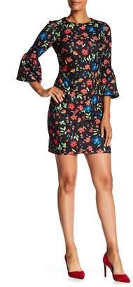 Modern American Designer Ditsy Bell Sleeve Floral Print Dress