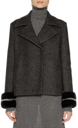 Agnona Agnona Wool-Cashmere Peacoat with Mink Fur Cuffs, Gray/Black