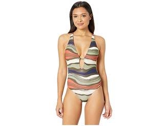 Vince Camuto Tidal Stripe Plunging V-Neck One-Piece