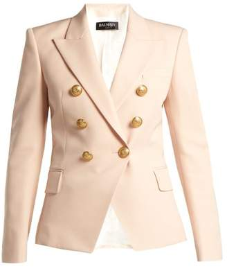 Balmain Double Breasted Wool Grain De Poudre Blazer - Womens - Light Pink