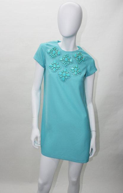 Karta Aqua  Jewel Patch Shift Dress
