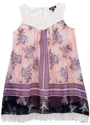Zunie Sleeveless Crochet Chiffon Border Dress (Little Girls)