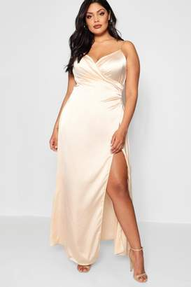 boohoo Plus Satin Wrap Maxi Dress