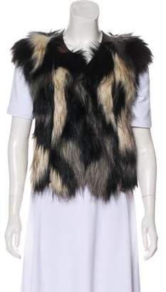 Twelfth Street By Cynthia Vincent Patchwork Faux Fur Vest