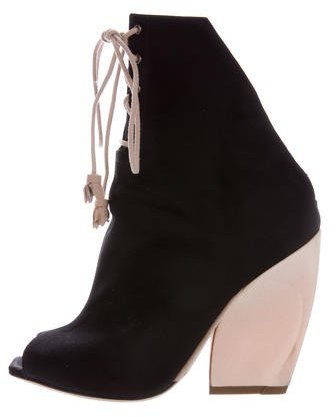 Christian Dior Peep-Toe Lace-Up Booties