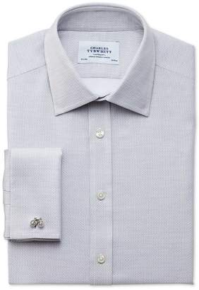 Charles Tyrwhitt Slim Fit Egyptian Cotton Diamond Texture Light Grey Dress Shirt Single Cuff Size 16/35