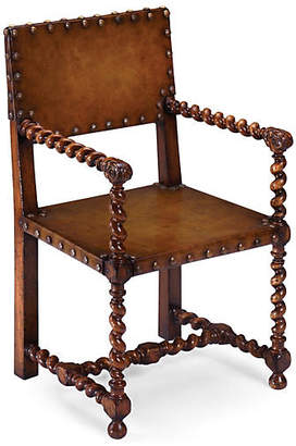 Tudor Style Leather Armchair - Walnut - Jonathan Charles