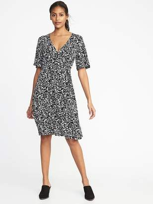 Old Navy Tie-Belt Flutter-Sleeve Faux-Wrap Dress for Women