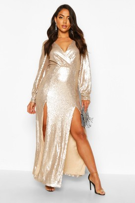boohoo Sequin Wrap Double Split Maxi Dress