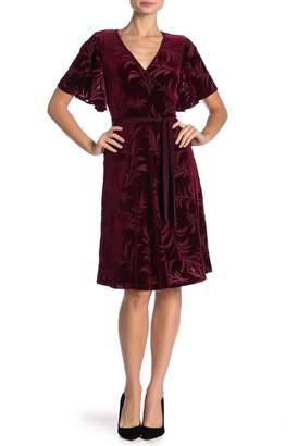 Modern American Designer Leaf Burnout Flutter Sleeve Wrap Dress
