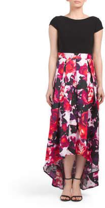 Printed Floral Hi Low Gown