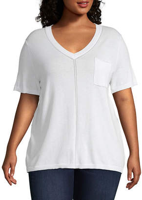 Liz Claiborne Short Sleeve Pullover Sweatshirt - Plus