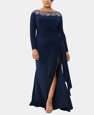 Xscape Evenings Plus Size Embellished-Neck Gown