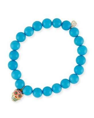 Sydney Evan Beaded Turquoise Bracelet with Sugar Skull Charm
